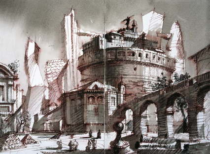 Old and new, architectural fantasy - 24x33 - (c) Sergei Tchoban
