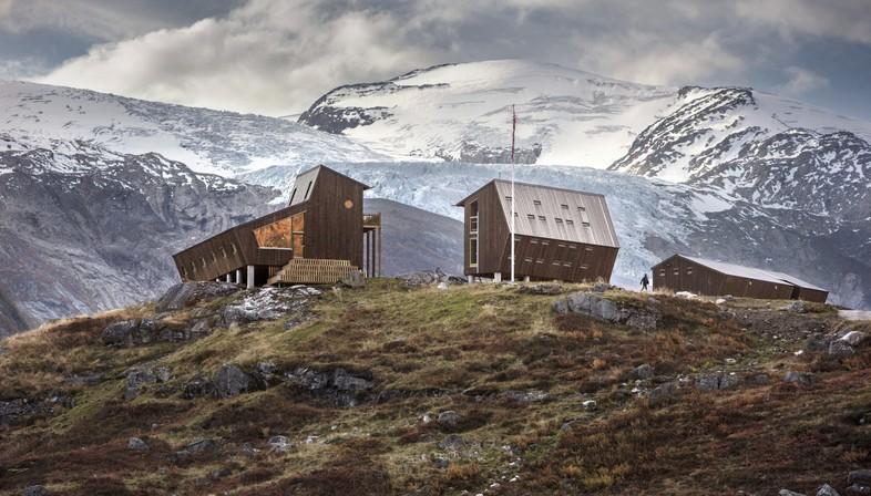 Snøhetta Tungestølen refuge pour randonneurs sur le glacier Jostedalsbreen Norvège