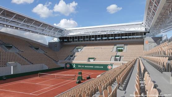 Dominique Perrault couverture court Suzanne Lenglen à Roland-Garros Paris
