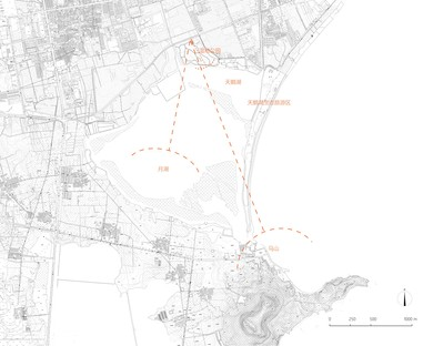 TAO : belvédère et tour sur le lac des cygnes à Rongcheng en Chine