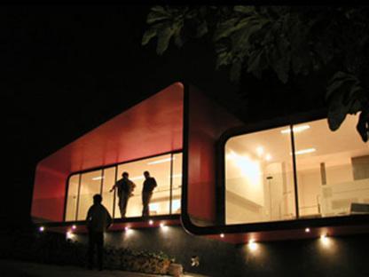 Tecamachalco (Mexico). Dépendance rouge. Michel Rojkind. 2003