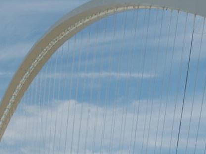Reggio d'Émilie. Le pont au-dessus de l'autoroute. Santiago Calatrava. 2007
