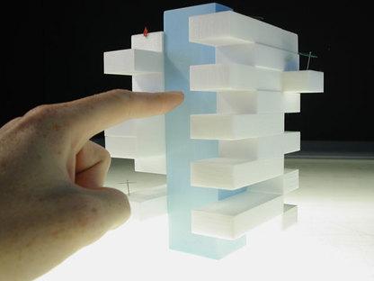 Modello in scala: in azzurro il blocco del silo