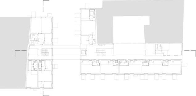 Plan des deuxième et quatrième étages