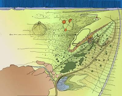 Disegno del territorio, con la mesa e il sito archeologico