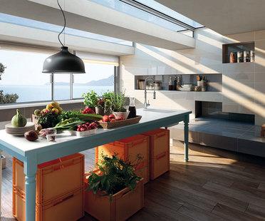 Revêtements de mur et de sol en grès pour un nouvel espace cuisine