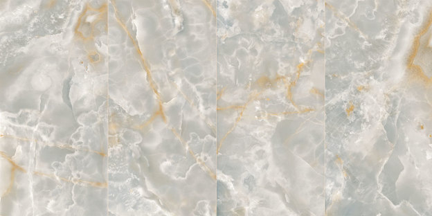 Ultra Ariostea : grands carreaux en grès effet onyx et métal