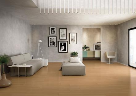Chaleur et luminosité pour les sols 2018 grâce à l'effet bois Deck d'Iris Ceramica