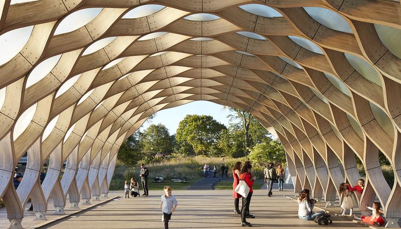 Pavillon en bois et fibres de verre pour le zoo de Lincoln Park de Chicago