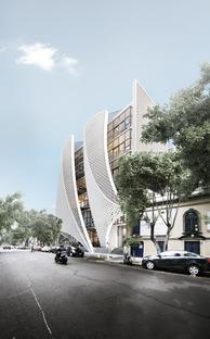 Façade en briques de béton polymérique à Mexico City