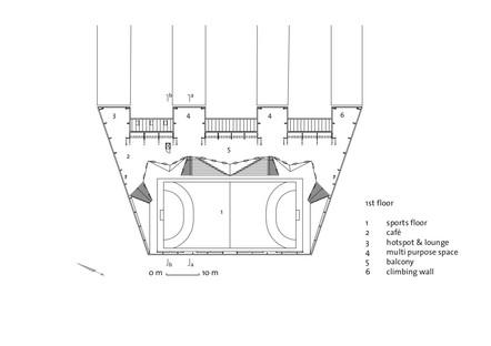 Terrain de sport revêtu de polycarbonate signé Dorte Mandrup
