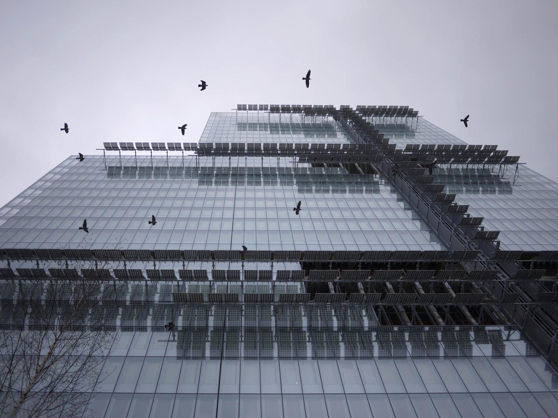 Façade en verre et panneaux photovoltaïques pour le Palais de Justice RPBW de Paris