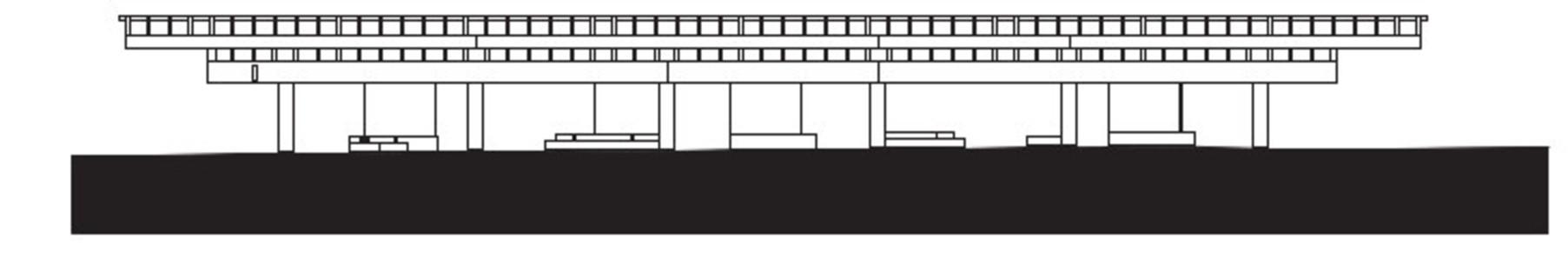 Structure mixte de béton et bois lamellé pour un auvent à Umeå en Suède.