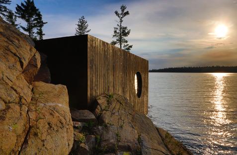 Le Grotto Sauna signé Partisans en bois pré-vieilli