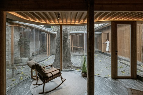 Maison restructurée en bois, briques et bambou lamellé-collé à Pékin